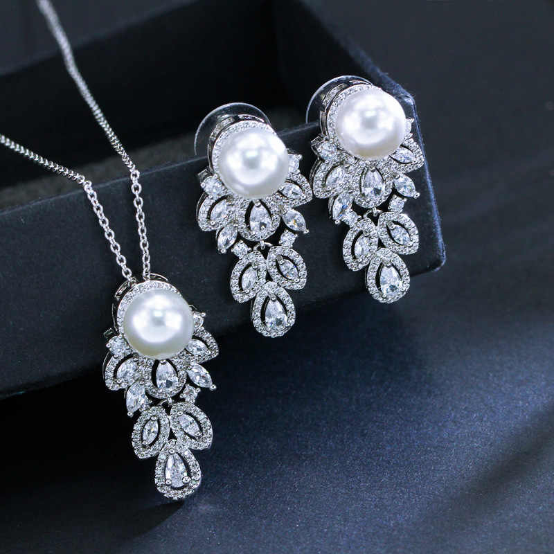 CWWZircons 2018 Fashion Brand Long Dangle CZ Crystal 925 Sterling Silver Pearl Necklace Earrings Jewelry Sets For Women T164
