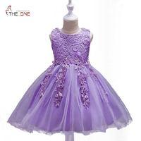 MUABABY Girls Princess Party Dress Summer Kids Sleeveless Flower Embroider Lace Sundress Children Girl Wedding Ball