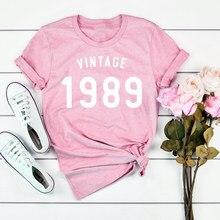 T-shirt Vintage 30e anniversaire pour femmes, vêtement à la mode grunge tumblr, graphique esthétique, 1989