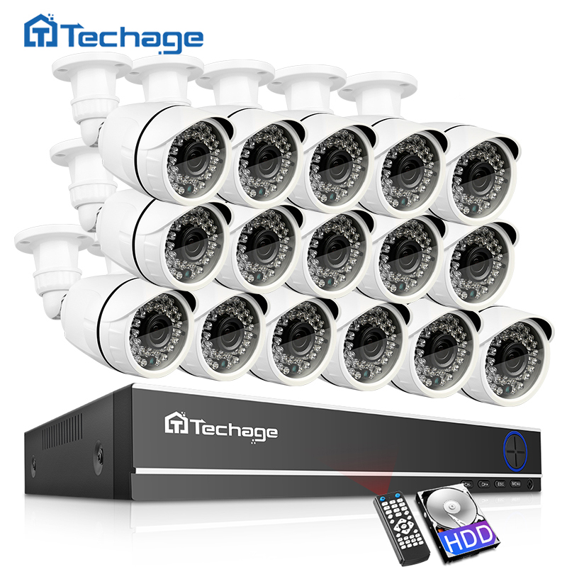 Techage 16CH 1080N DVR CCTV Security System AHD DVR Kit 2MP 1080P IR Outdoor IP66 Waterproof Camera P2P Video Surveillance Set