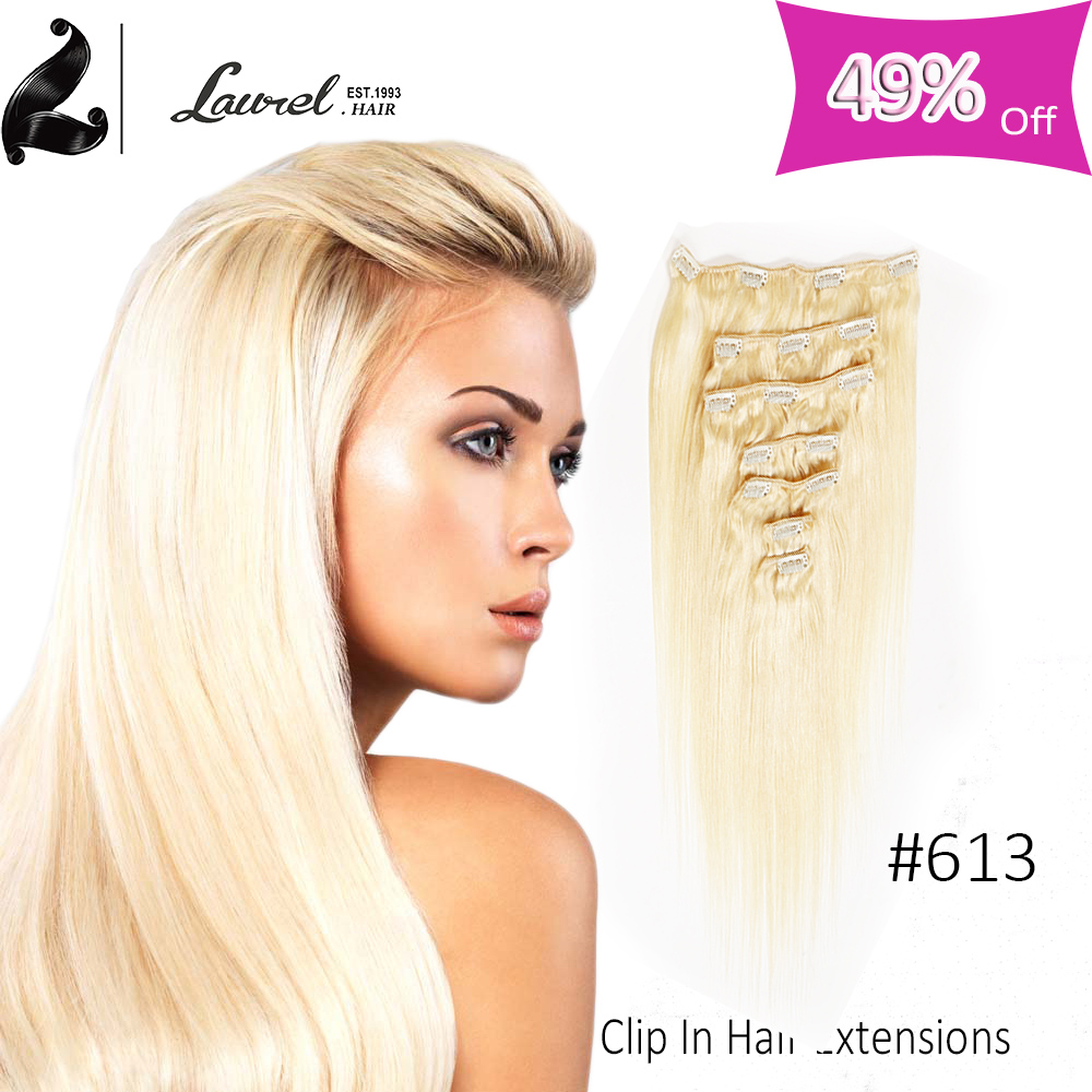 16-24inch Laurel Hair Products Peruvian Virgin Straight Human Hair Clip In Extensions Straight No Shed No Tangle 9 Colors Online