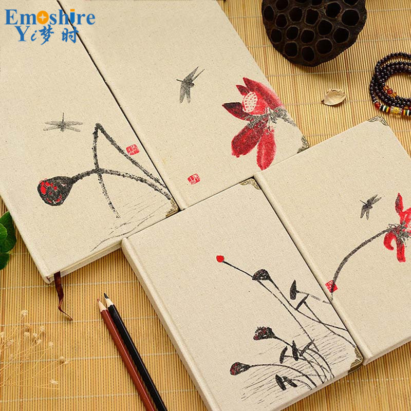 Creative Linen Note Book Retro Chinese Style Notebook Stationery Notepad Thick Diary Brand NoteBook Customization for Gifts N167 emoshire 4 set of notebooks stationery creative gift bag chinese style retro memo pad diary note book notepad n059