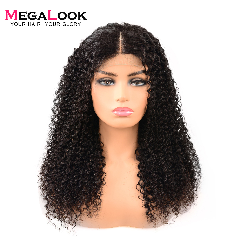 Megalook 4*4 Closure Wig 210% Density Brazilian Hair Wigs afro Kinky Curly Human Hair Closure Wig Natural Hair Remy 30 inch