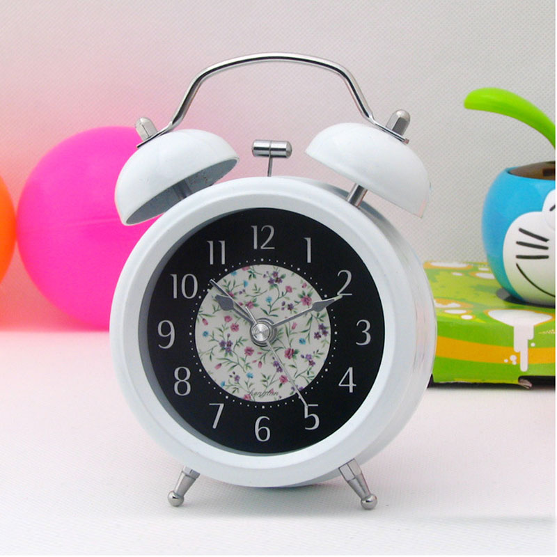 Classic Mini 3 inch Metal Double Bell Desk Table Alarm Clock Silent Quartz clock with Ni ...