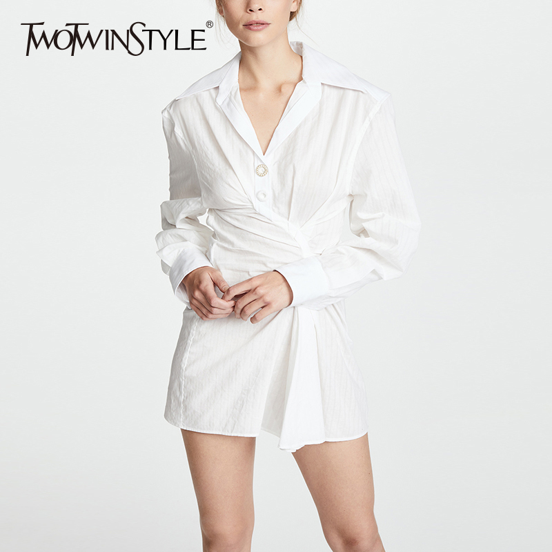 TWOTWINSTYLE Ruched Mini Dress Female Lapel Collar Lantern Sleeve Tunic Slim Sexy Dresses 2019 Spring Summer Fashion New Clothes
