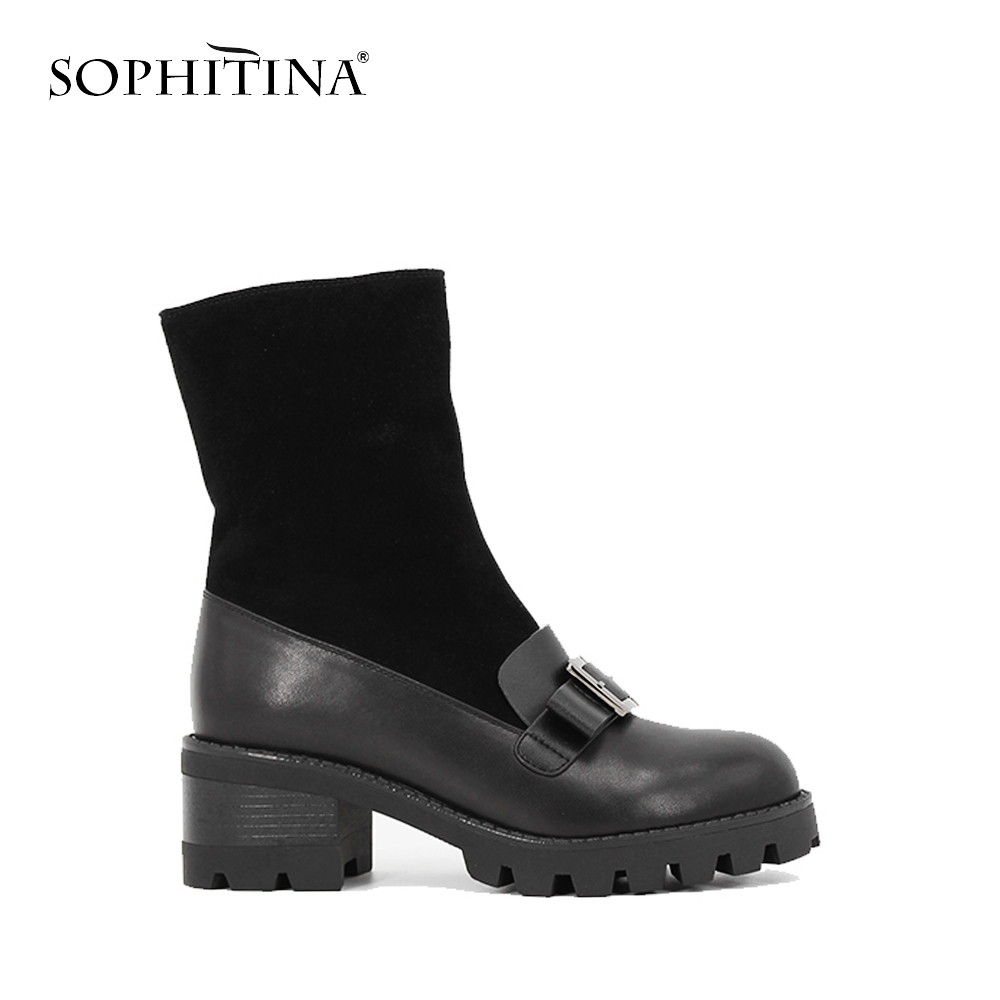 SOPHITINA Cow Leather+Kid Suede Wool Fur Plush Mid-Calf Boots Metal Buckle Round Toe Thick Heel Boot TPR outsole woman shoe B043