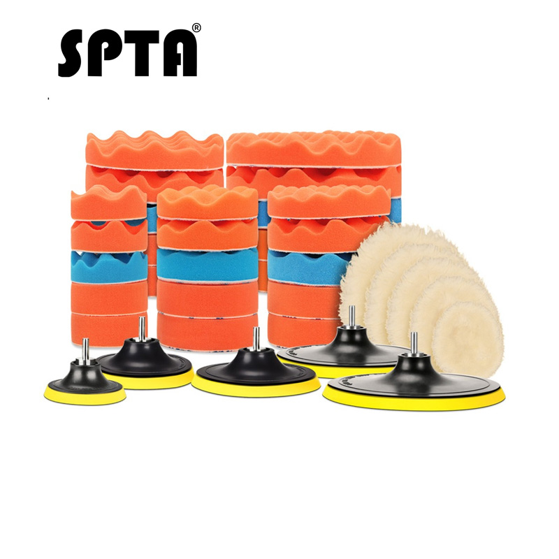 SPTA 8Pcs Buffer Pad Set 4/5/6/7 Inch Auto Car Polishing Pad Kit For Car Polisher + Drill Adapter M14 Power Tools Accessories