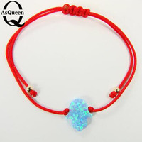 Hand Make Synthetic Opal Hamsa Bracelet Red Rope Braidng Bracelet Adjustable For Women And Girls