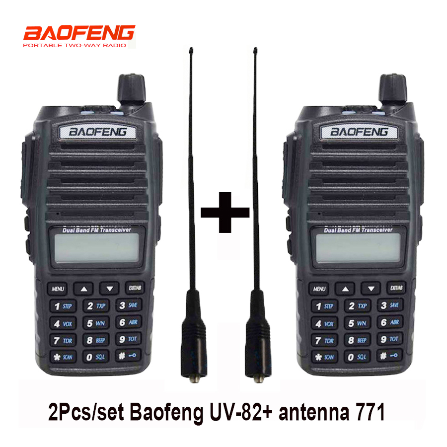 2pcs lot portable Radio Baofeng UV 82 walkie talkie UV 82 CB Ham Radio Vhf Uhf