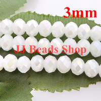 6 46USD 1000pcs 3mm AAA Top Quality Crystal Glass 5040 Rondelle Beads White Jade AB Colour