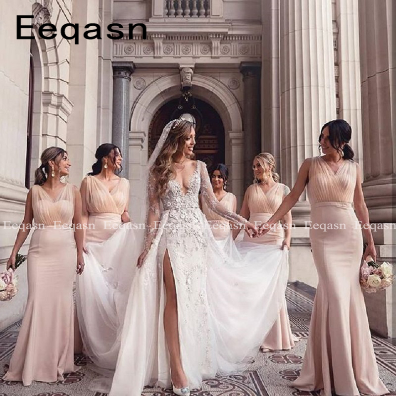 New Light Pink Bridesmaid Dresses For Women Mermaid Cheap Long Formal Dress 2020 Wedding Party Gown Maid Of Honor Under 50