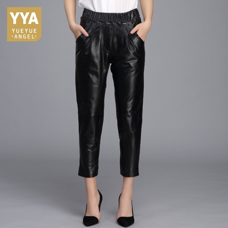 High Quality 2019 New Straight Female Trousers Genuine Leather Casual Streetwear Pencil Pants Woman Mid Waist