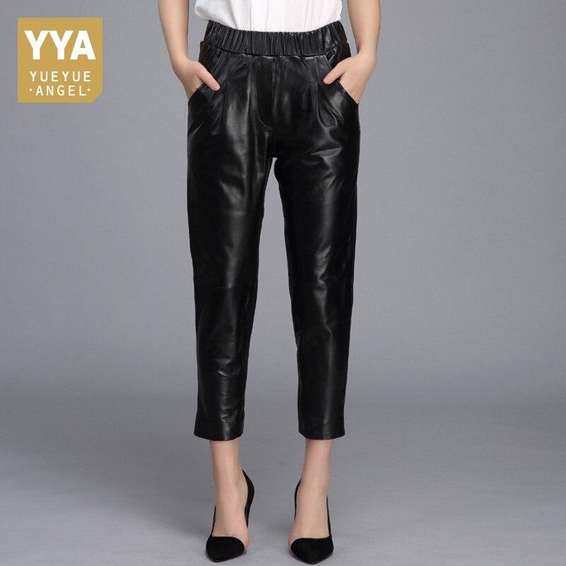 Qualité supérieure 2019 Nouveau Droite Femelle Pantalon En Cuir Véritable décontracté Streetwear pantalon moulant Femme Mi Taille Cheville Longueur Pantalon