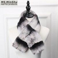MS.MinShu Rex Rabbit Fur Scarf Short style Chinchilla Rex Rabbit Fur Scarf Thicken Winter Neck Warmer Fashion Woman Collar Scarf