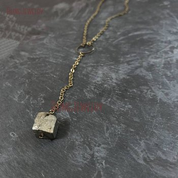 Pyrite Nugget Lariat Necklace Brass Chain Necklace Boho Minimal Necklace Coachella Necklace NM18608