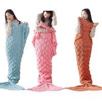 Mermaid Kuyruk Battaniye Kişilik Rahat El Yapımı Tığ Mermaid Battaniye Çocuklar Yetişkin Atmak Yatak Sarma Yumuşak Uyku Yatak Yeni