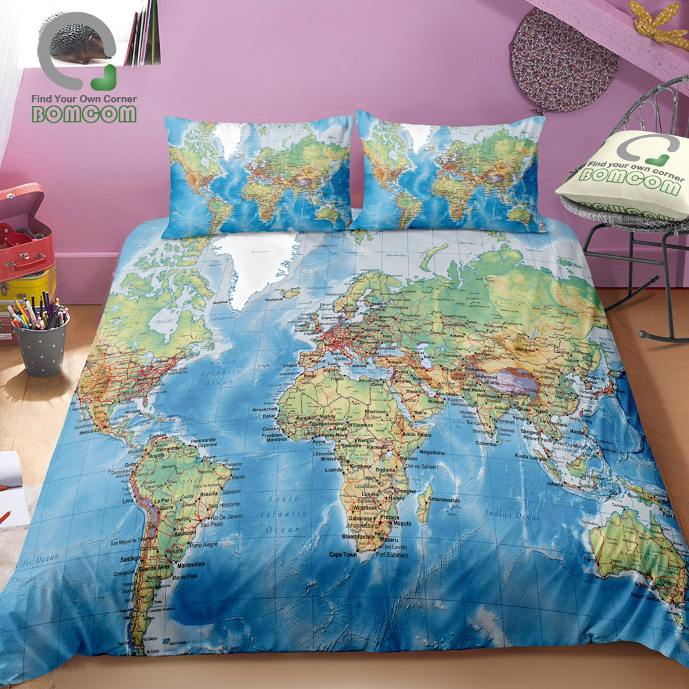 BOMCOM 3D Digital Printing Physical World Map Highly detailed Duvet Cover Sets 100 Microfiber Clear