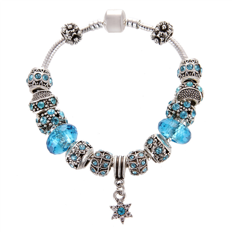 European Style Vintage Blue Crystal Star Pendant Silver plated Noble Elegant Pandora Bracelet For Women/Gril gift jewelry