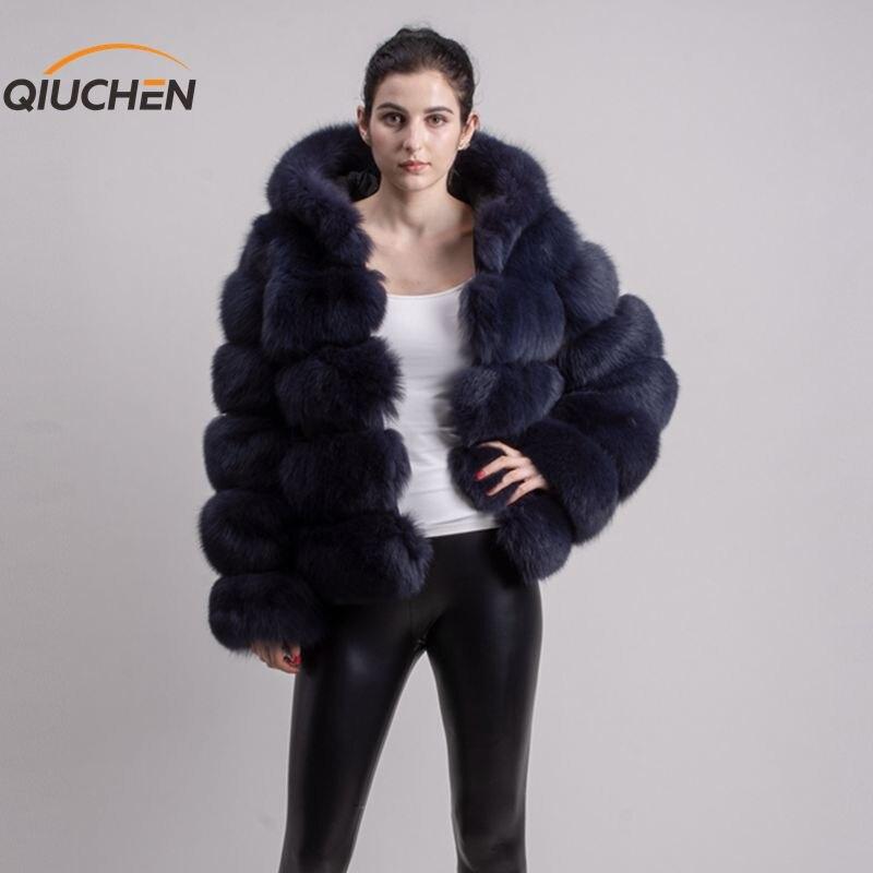QIUCHEN PJ8143 2019 chegada nova brasão real fox fur mangas compridas roupa de peles de moda de alta qualidade mulheres casaco de inverno com capô