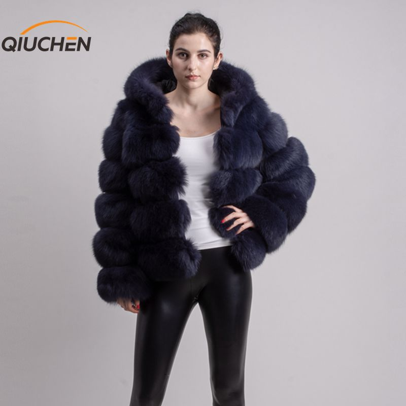 QIUCHEN PJ8143 2019 new arrival real fox fur coat long sleeves fashion fur outfit high quality women winter coat with hood