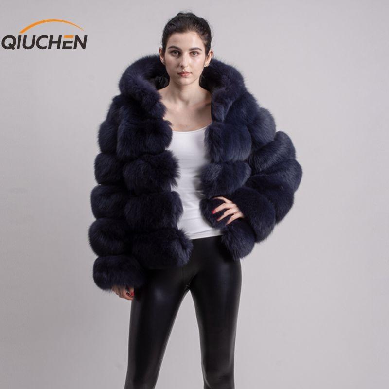 QIUCHEN PJ8143 2019 nueva llegada abrigo de piel de zorro real mangas largas moda traje de piel de alta calidad mujer abrigo de invierno con hood