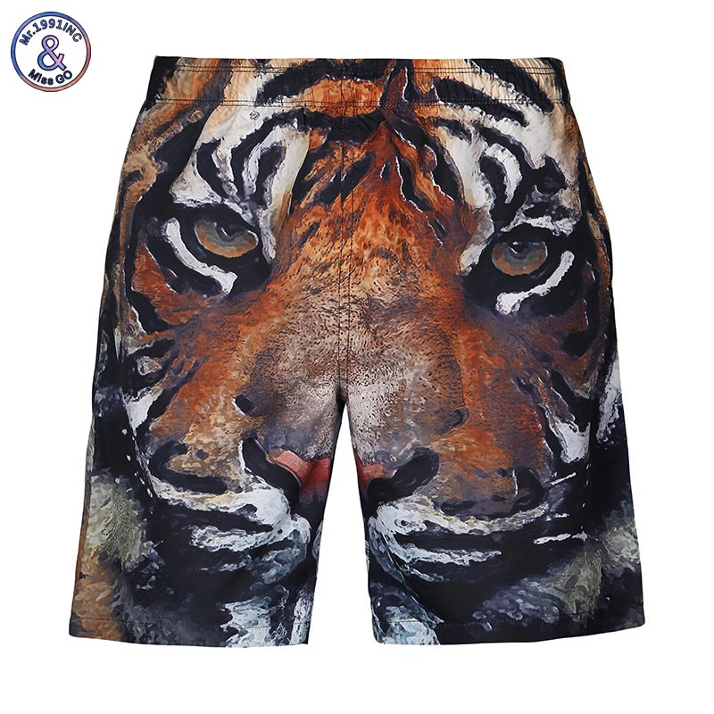 Mr.1991INC New Fashion men's beach shorts digital print tiger animals lovely casual short pants Asia size S-XXL