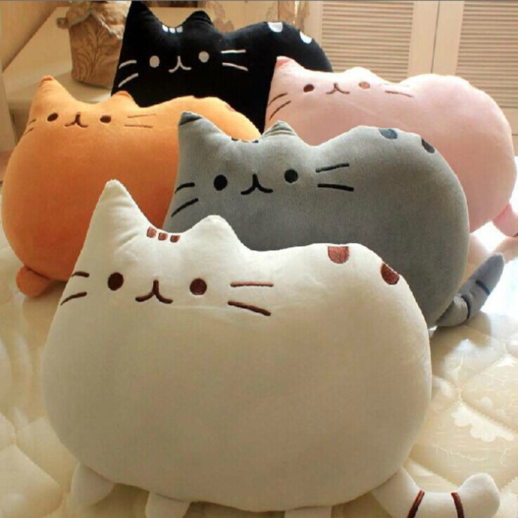 VILEAD Cute Soft Biscuit Cat Cushion Lovely Fat Cookie Cat Plush Toy Home Car Throw Pillow Creative Seat Decoration Girls Gift