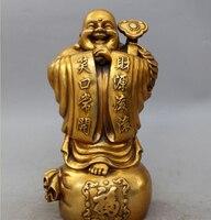 14Chinese Bronze Stand Happy Laugh Buddha Money Bag Ru Yi Bless Statue