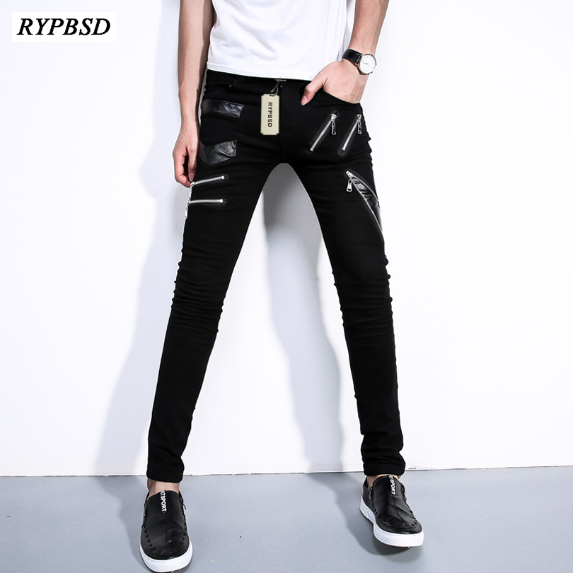 2017 Spring Autumn Fashion Zipper Design Leather Patchwork Pants Men Hip Hop Sportswear Pants Slim Fit White Skinny Trousers Men