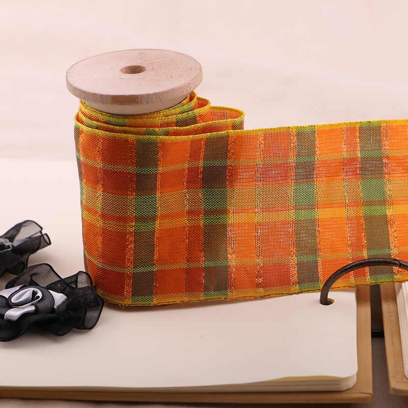 1 חצר 7 CM כתום משובץ סקוטי סרט מודפס סרט פוליאסטר, DIY בעבודת יד, מתנה לחתונה לעטוף