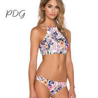 PDG 2017 Women Bikinis Junior Girls Swimsuit Printing Flower Pattern Two Piece Suit