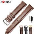 Zlimsn correa de reloj 18 20 22 23 24 26mm marrón negro Sweatband Del Cuero Genuino de correas de Reloj Negro Pin Hebilla de Metal A512 H5