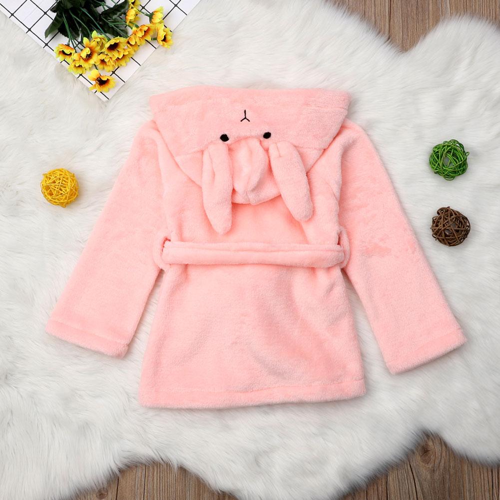 Rabbits Plush Bathrobe Dressing Gown Pyjamas Pjs Soft Kids Pink Blue Girls  Boys Autumn Winter Warm Robes 1-6T 3be5d8a22