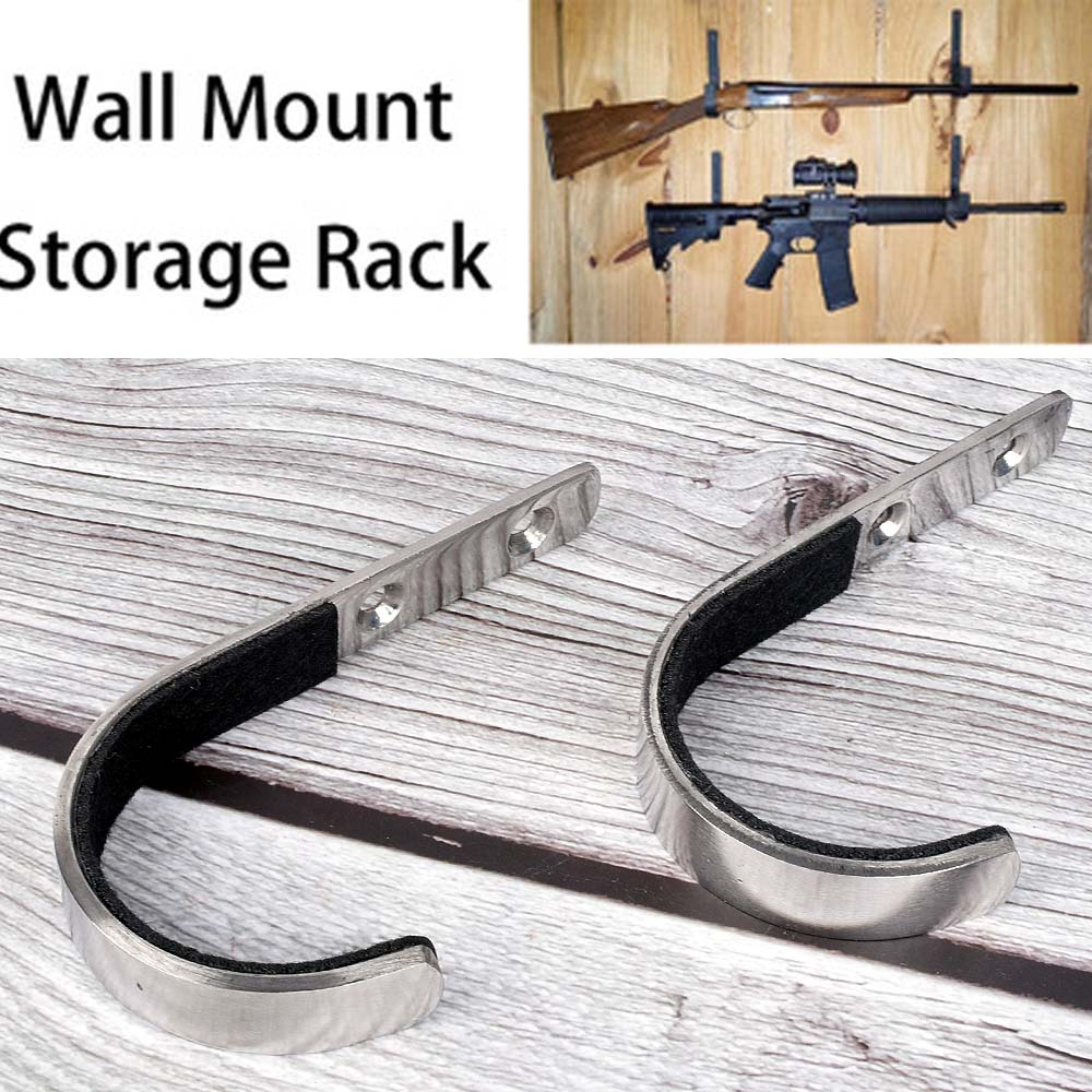 Rack Hangers-Set Gun Wall-Mount-Storage Rifle 1-Pair J-Hook Stainless-Steel New Anti-Scratch