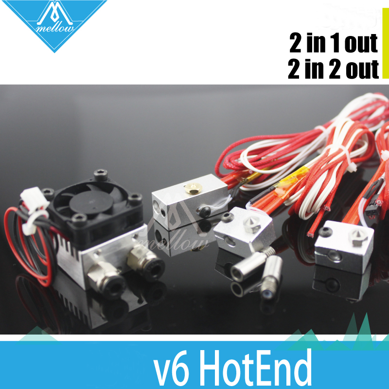 3D Printer  All-Metal/Teflon Extrusion Cyclops and Chimera  2 in 1 out  hotend Multi Color Extruder kit+block hot end kit