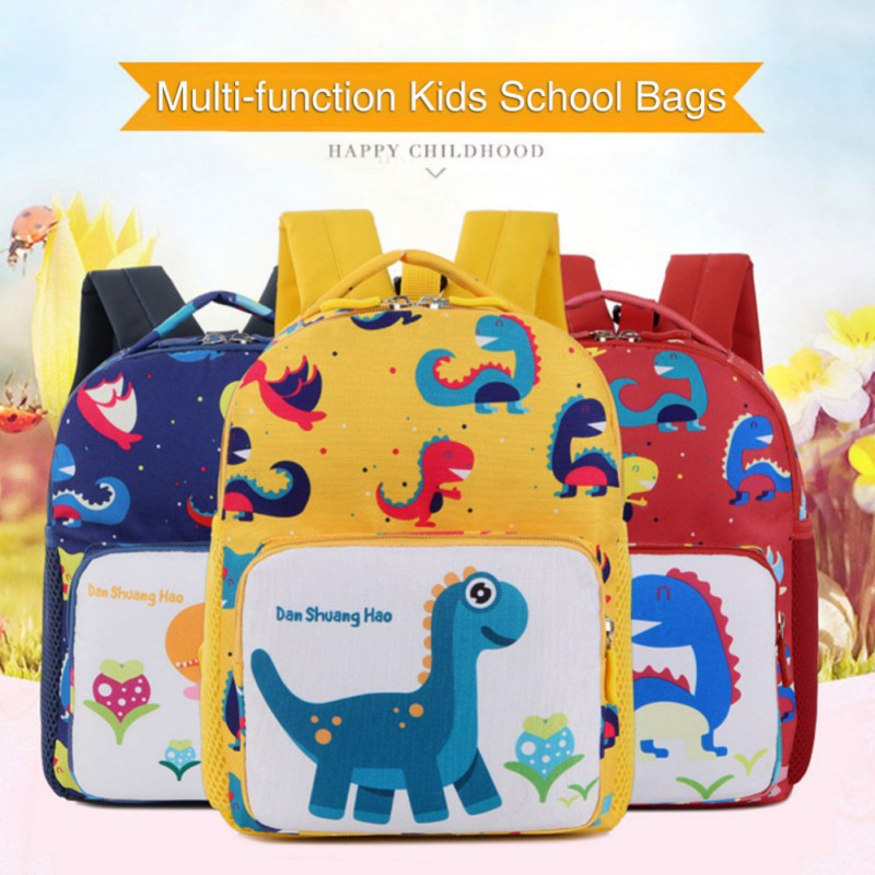 Plush Backpacks School Bags Dinosaur Printing Kids School Bags Cartoon Animal Printing School Backpacks Anti-lost