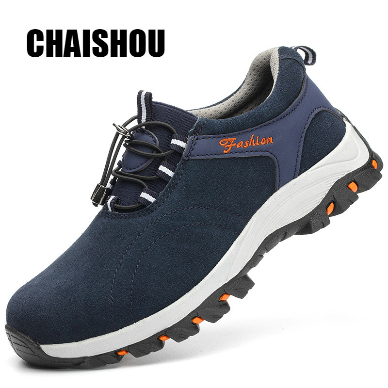 CHAISHOU Shoes Man Work Shoes Steel Toe Cap Cow Suede Breathable Anti-smashing Anti-piercing Safety Shoes C367