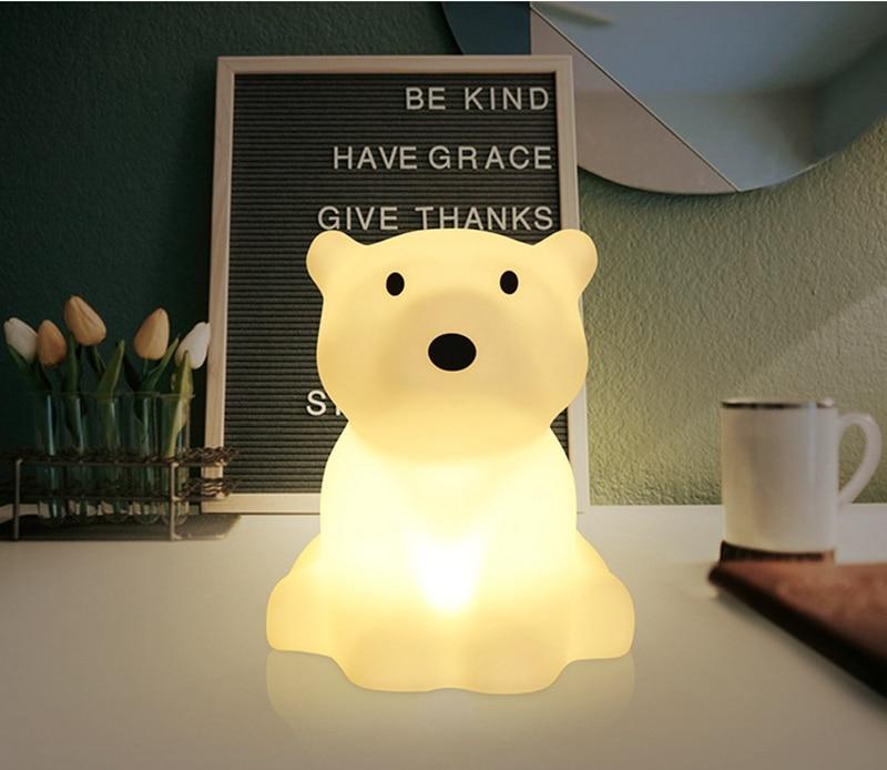 Polar Bear LED Night Light Swivel Dimmable Novel Gift for Kids Sleeping Warm White Baby Lamp Silicone Indoor Decoration Light (7)