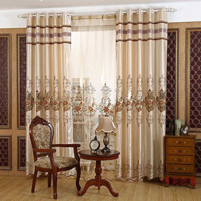 High Grade Euro Style Embroidered Semi Shade Curtain,Drapery Panel,Quality Tulle