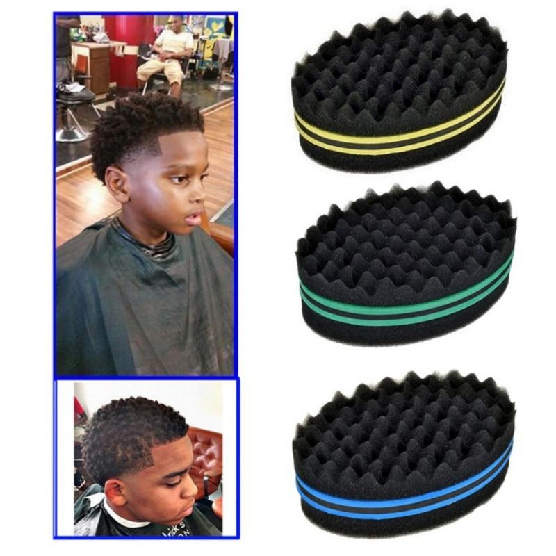 Afro Curly Weave Oval Hair Brush Makeup Sponge Double Sided Flat Large Hole Wavy Small Hole Dreads Sponge Brush
