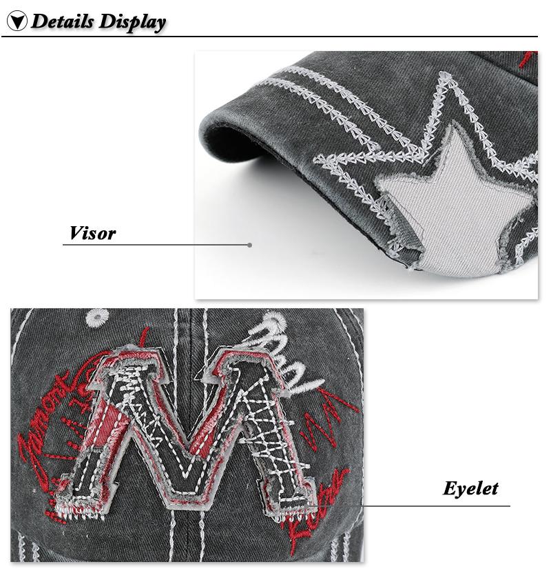 "Embroidered ""M"" Baseball Cap - Gray Cap Closeup Embroidery Detail Views"