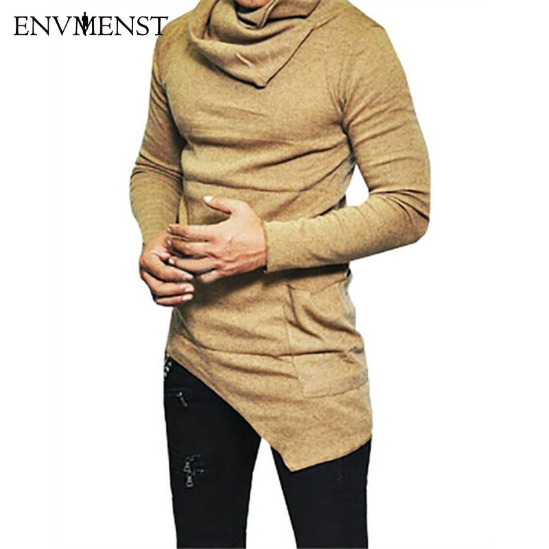 2017 Envmenst Top Fashion Brand Turtle neck Street T shirt Men Hip Hop Long Sleeves Asymmetry Designed Men's Tees US Size 5XL