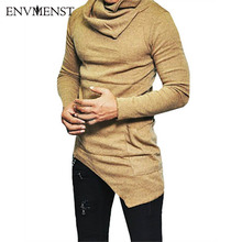 2017 Envmenst Top Fashion Brand Turtle neck Street T shirt Men Hip Hop Long Sleeves Asymmetry Designed Men's Tees US Size 5XL(China)