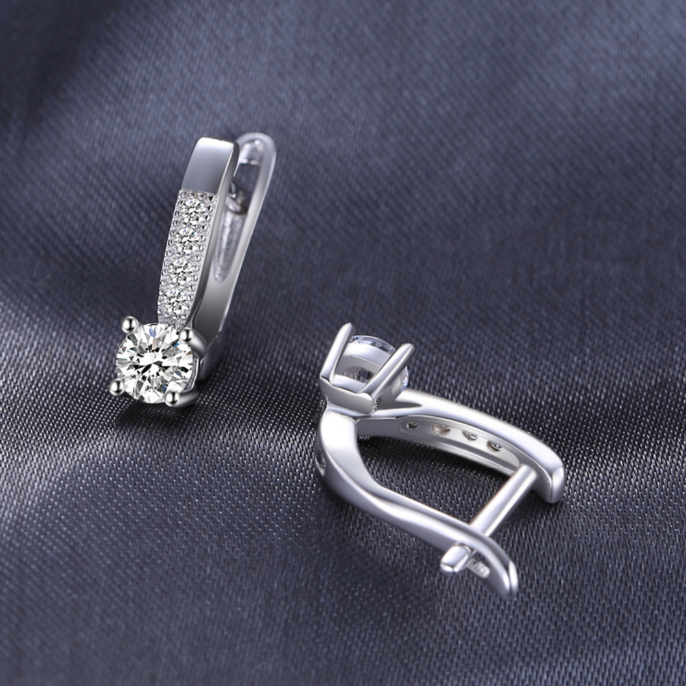 Sterling Silver Earrings 1ct Cubic Zirconia CZ Clip Earrings Fine Jewelry Anniversary Gifts For Women Fashion 1