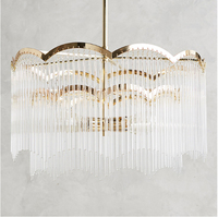 T Gold American Style Retro Chandeliers LED Crystal Lighting For Living Room Bedroom Hall Hotel Restaurant