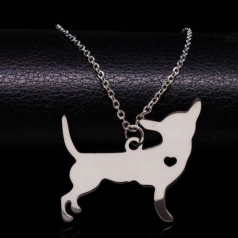 Edelstahl Chihuahua Halskette Schmuck für Männer oder Frauen Tier Haustier Hund Halsketten Schmuck Collier Bijoux Femme N922S02