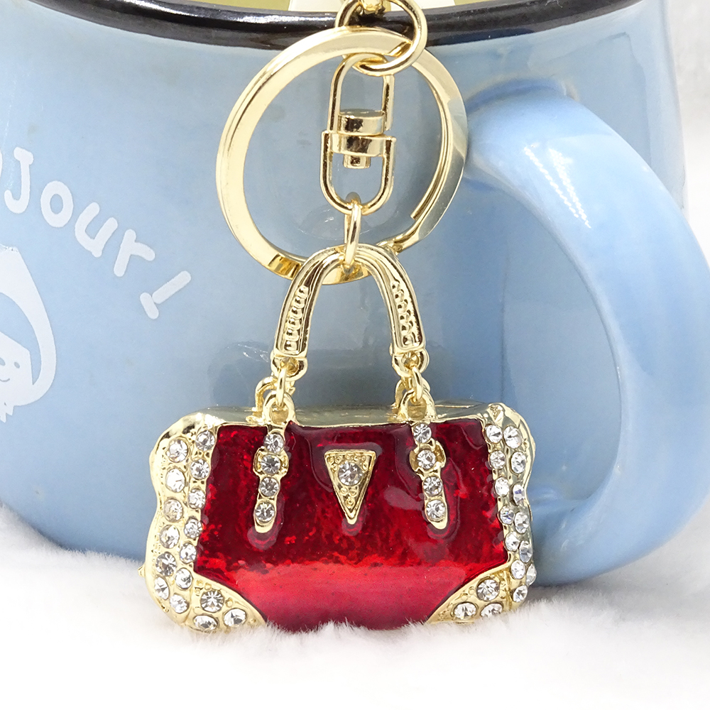 Fashion Keychain Tote Model Keychain Red Transparent Paint Craft Rhinestone Key Chain Three-dimensional Cutout Lady Bag Pendant