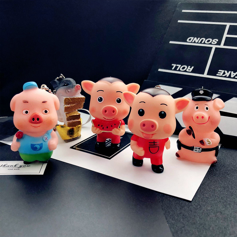 2019 Cute Cartoon Various Styles Pig Keychain Lovely Animal Sound Key Chain Ring Holder for Women Girl Car Bag Pendant Trinket in Key Chains from Jewelry Accessories