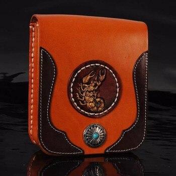 Handmad Women Men Handbags Cow Leather Messenger Shoulder Belt Bag Scorpion Turquoise Button Vegetable Tanned Leather Waist Bag