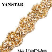 YANSTAR 4.5CM 1Yard Rhinestones Trim For Bridal Sashes Rose Gold Crystal Rhinestones  Appliques For Dresses Belt YS823 5322c53edcac